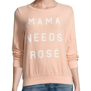 "wildfox // pink ""mama needs rosé"" pullover"